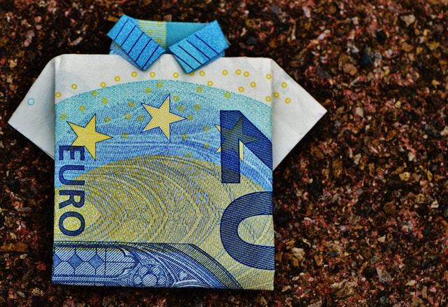 A euro folded into the shape of a t-shirt