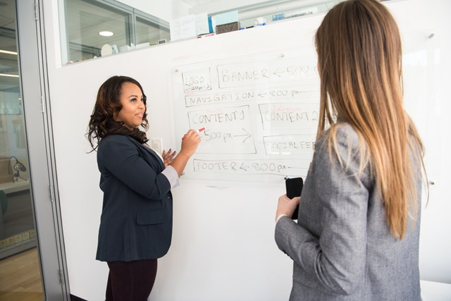 Two women standing in front of a white board discussing what's on it.