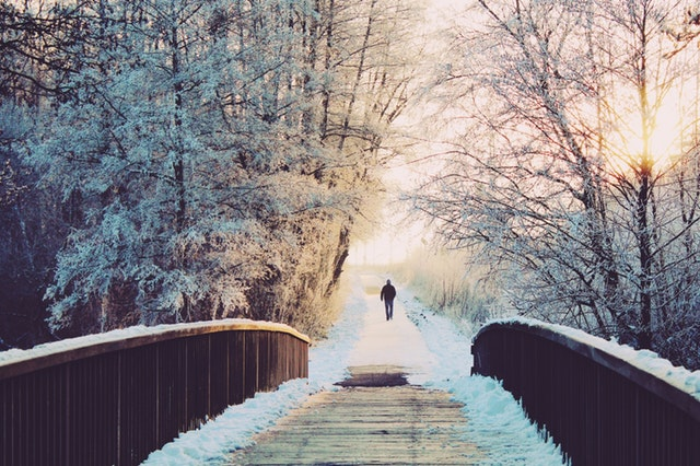 A person in the distance walking away from the camera past a wooden bridge and snow-covered trees.
