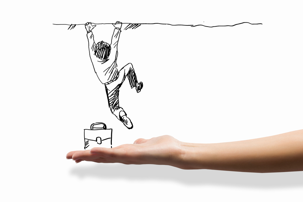 A doodle of a businessman hanging off a cliff with a human hand underneath as though to catch him.