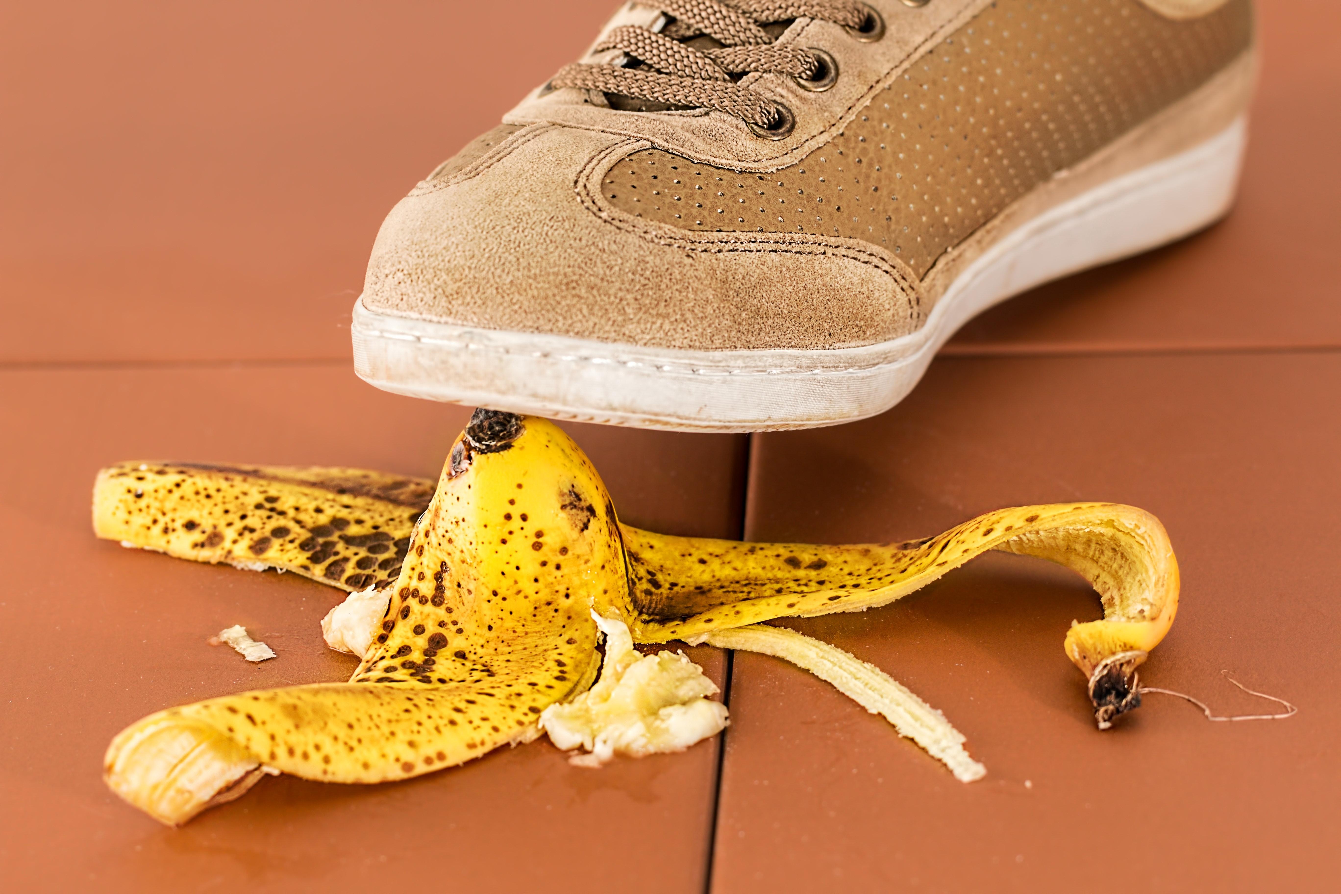 Image of a Shoe Stepping on a Banana Peel