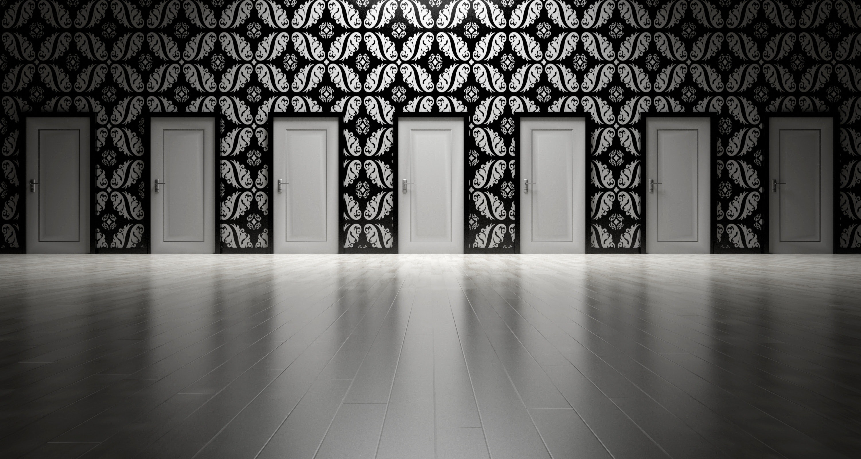Seven white doors in a long, black wall with curly, white leaf shapes.