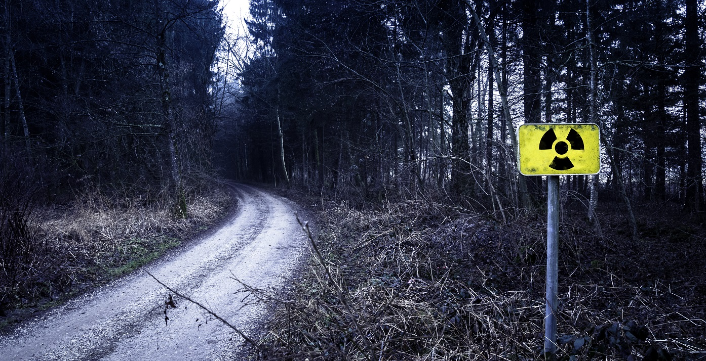 An unpaved road with a bend that turns left running through a thick dark forest with a yellow radioactivity warning sign on the right foreground.