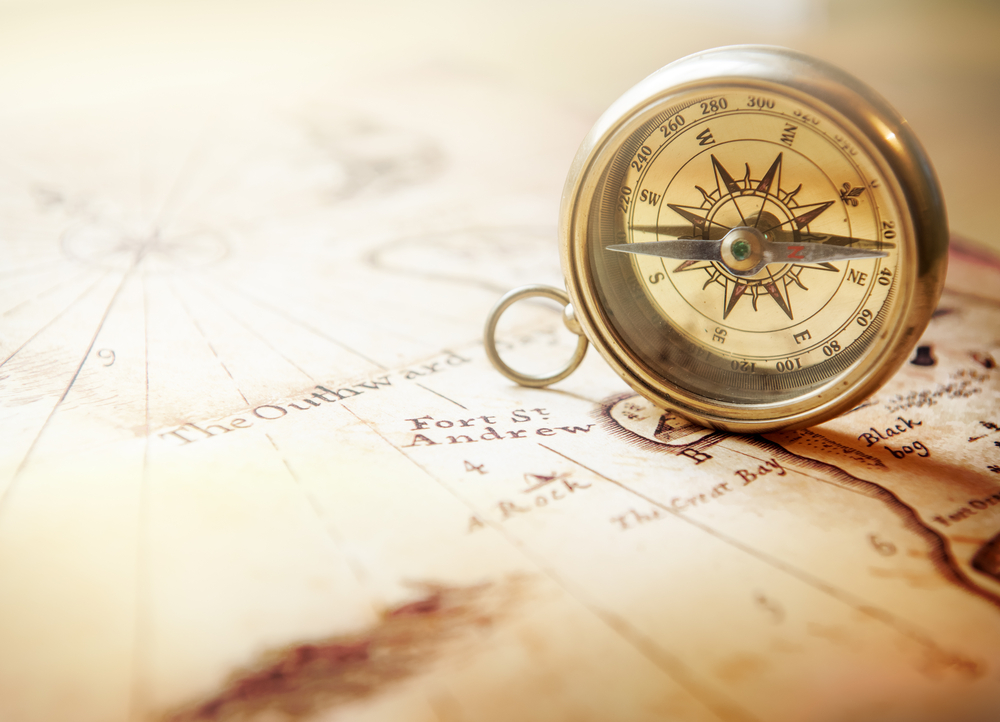 Image of a Map with a Compass