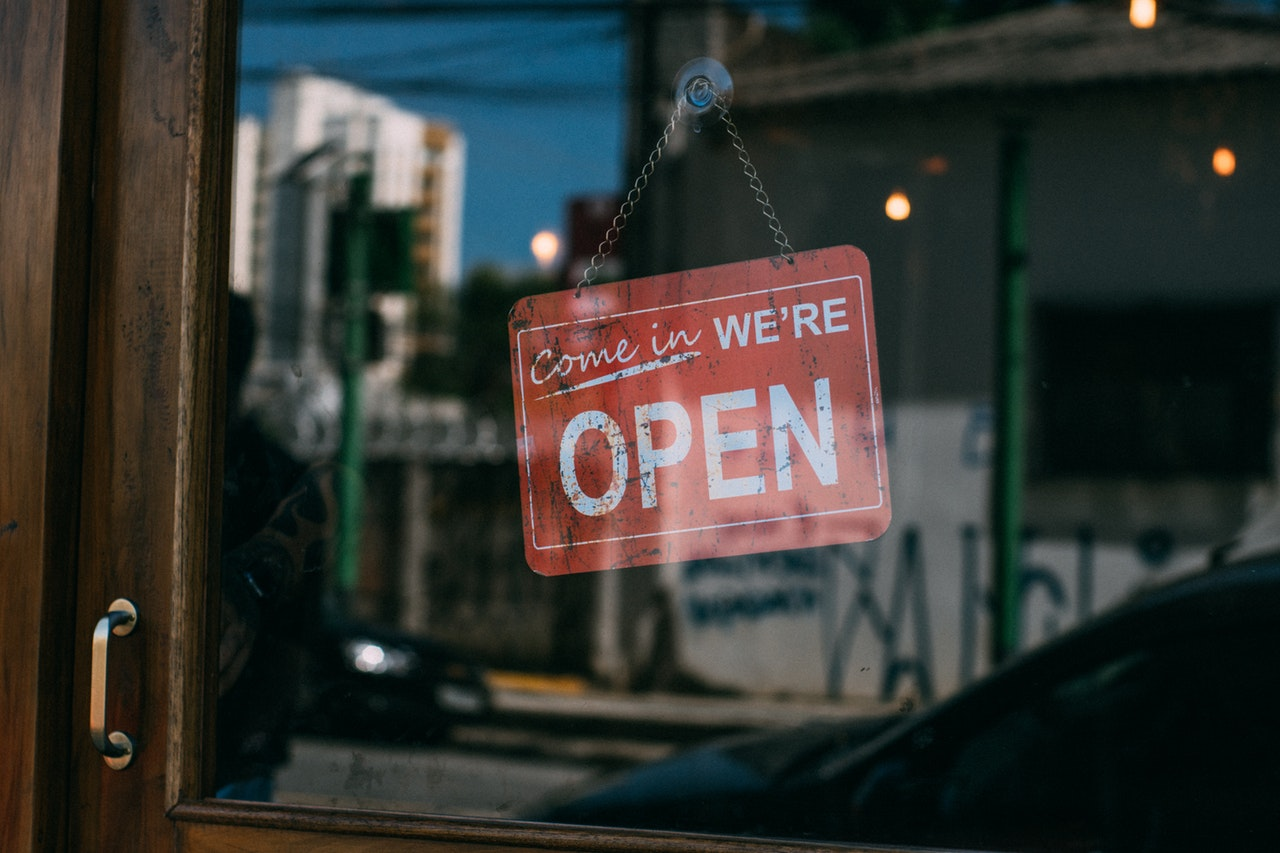 Image of Open Sign Hanging in Retail Store Door