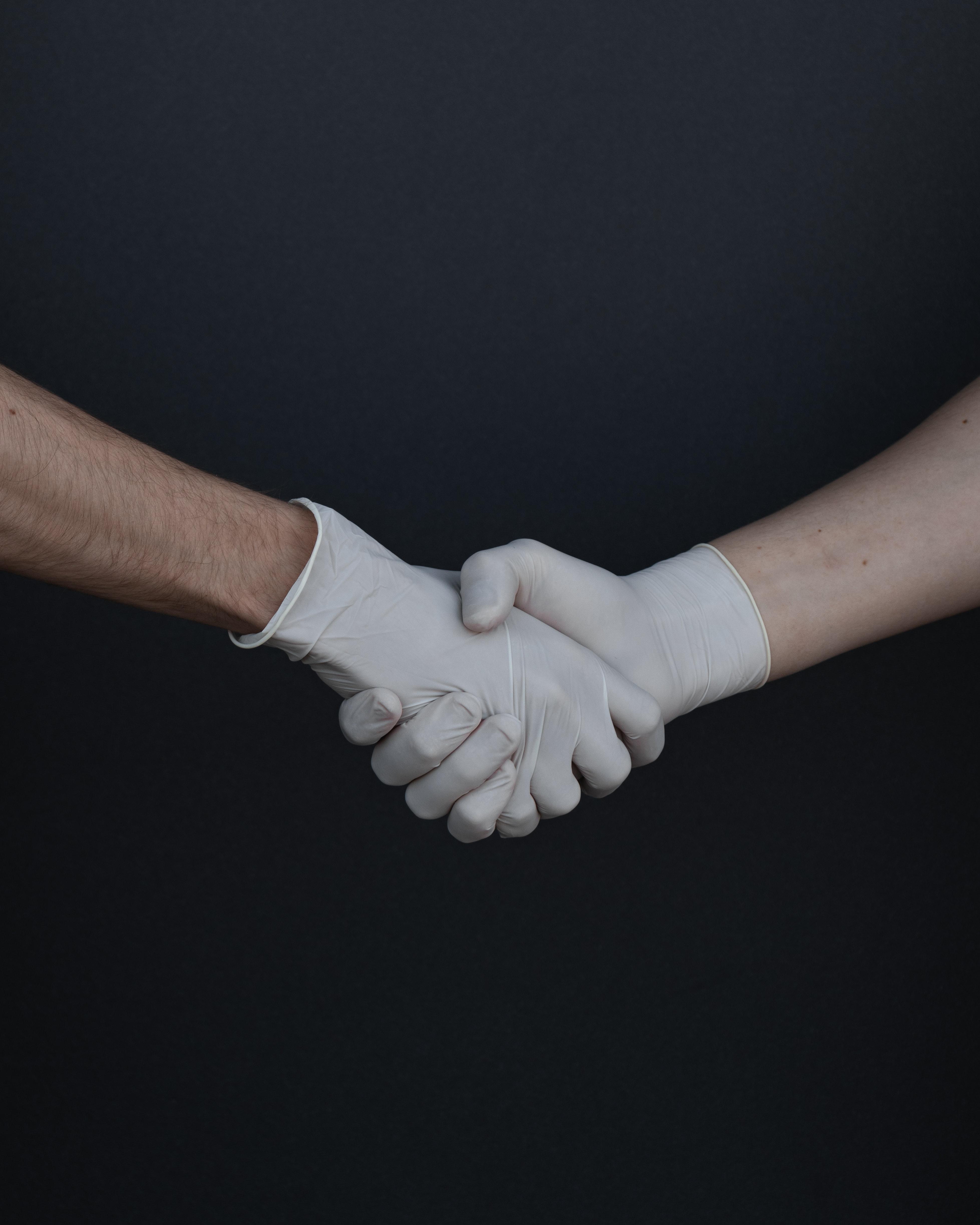 latex hand shake