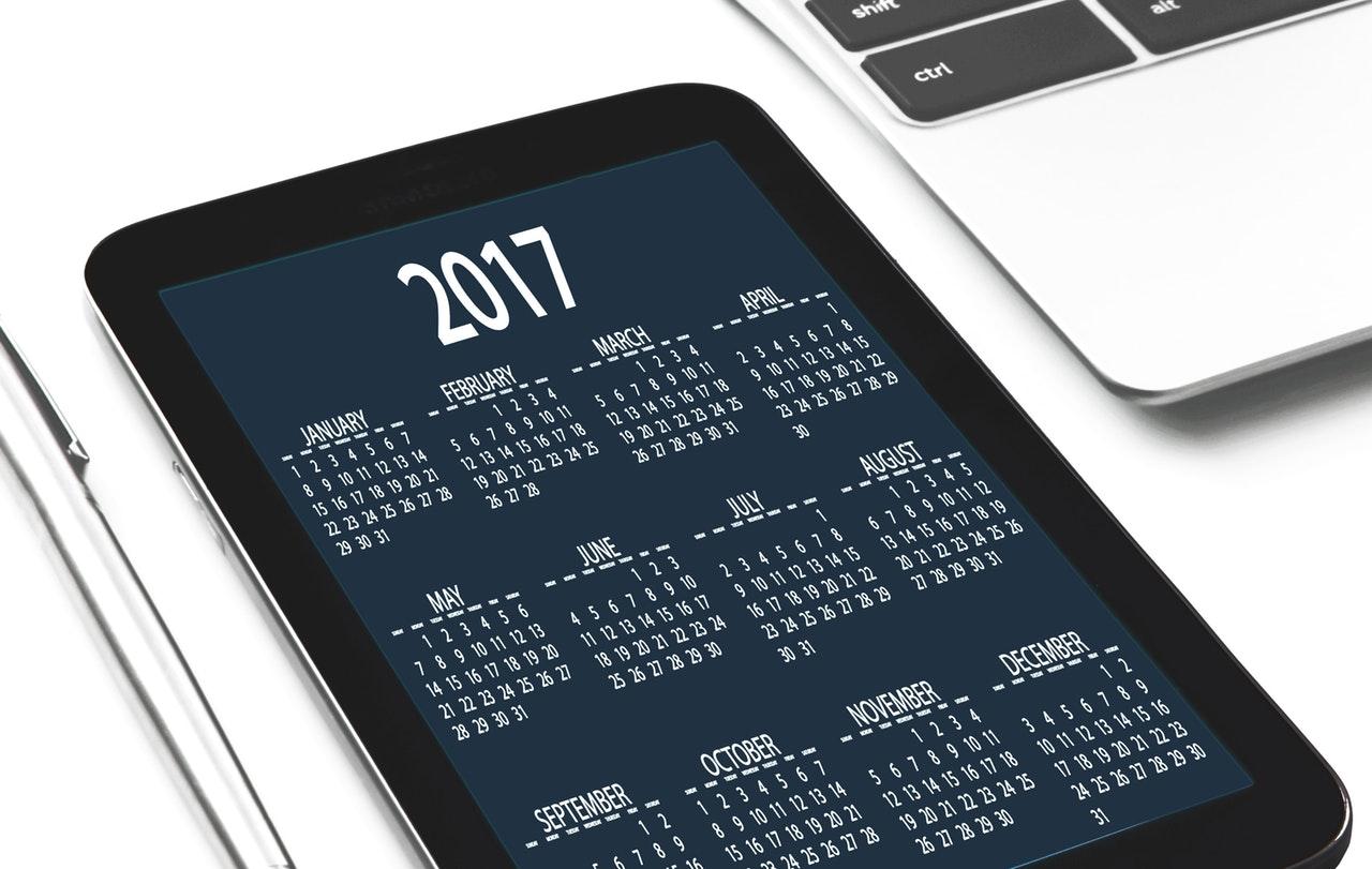 Image of a Digital Calendar Displayed on a Tablet
